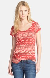 Lucky Brand Bandana Print Scoop Neck Tee