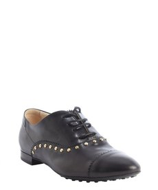 Tod's black leather studded detail lace up oxfords