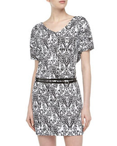 Susana Monaco Dolman-Sleeve Abstract-Print Matte Jersey Dress, Black