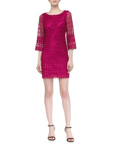 Laundry by Shelli Segal Mixed Venice Lace Shift Dress, Ultra Berry