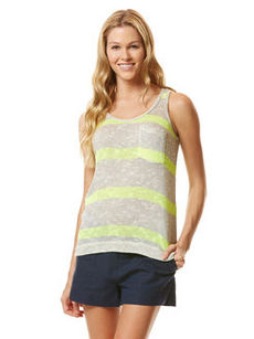 vivid stripe loose knit pocket tank