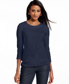 Charter Club Petite Three-Quarter-Sleeve Pima Cotton Tee