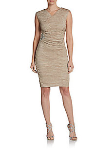Calvin Klein Jewel-Waist Taffeta Dress