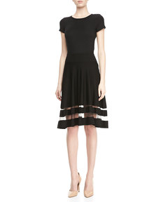 Jason Wu Shadow-Stripe Flounce Skirt