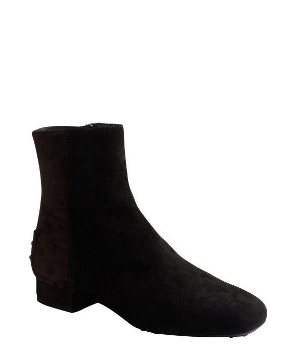 Tod's black and ebony colorblocked suede ankle boots
