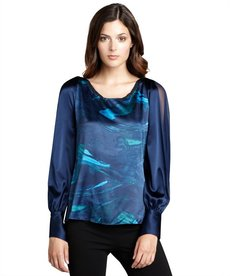 Elie Tahari blue meteor printed stretch silk 'Whitney' long sleeve blouse