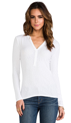 Michael Stars Henley Blouse in White