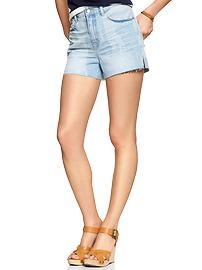 1969 faded raw-edge high-rise denim shorts