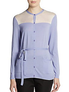 Lafayette 148 New York Colorblocked Wool Cardigan