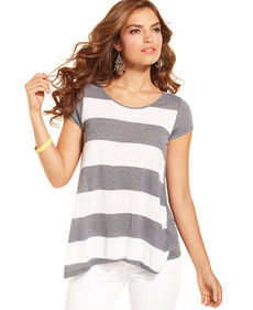Kensie Short-Sleeve Striped Tee