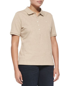 Escada Short-Sleeve Polo, Beige Melange
