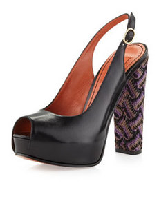 Missoni Knit-Heel Sling Back Pump, Black
