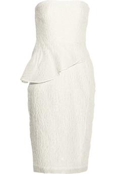 Badgley Mischka Pleated matelassé peplum dress