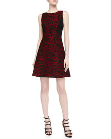 Laundry by Shelli Segal Sleeveless Floral Brocade Fit-And-Flare Dress, Berry/Black