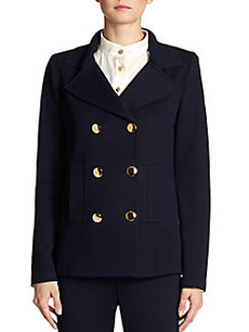 St. John Double-Breasted Ribbed Stretch Knit Peacoat