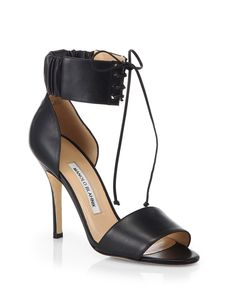 Manolo Blahnik Olli Leather Ankle-Tie Sandals