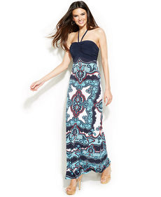 INC International Concepts Embellished Printed Halter Maxi Dress