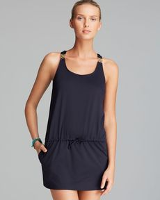 MICHAEL Michael Kors Watch Band Tank Swim Cover Up Dress
