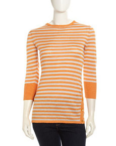 Lafayette 148 New York Horizontal-Striped Knit Sweater