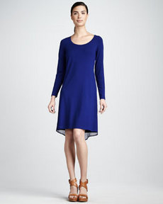 Isda & Co Chiffon-Trim Jersey Dress