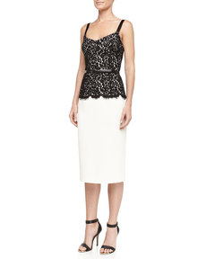 Michael Kors Belted Lace-Top Sheath Dress, Ivory/Black