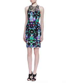 Mesh-Top Graphic Orchid Print Dress, Multicolor   Mesh-Top Graphic Orchid Print Dress, Multicolor