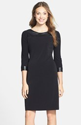 Marc New York by Andrew Marc Faux Leather Trim Shift Dress (Regular & Petite)