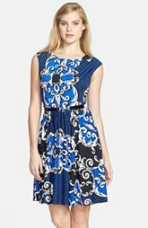 Ellen Tracy Print Jersey Fit & Flare Dress
