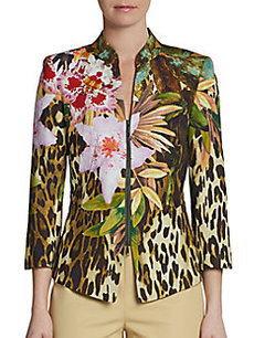 Lafayette 148 New York Macie Three-Quarter Sleeve Printed Jacket