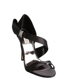Badgley Mischka black satin crystal embellished 'Sophia' pumps