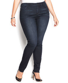 INC International Concepts Plus Size Skinny Jeans, Dark Blue Wash