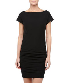 James Perse Cap-Sleeve Ruched Jersey Dress, Black