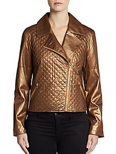 Ellen Tracy Quilted Moto Jacket