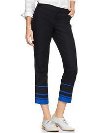 Slim cropped stripe-hem pants