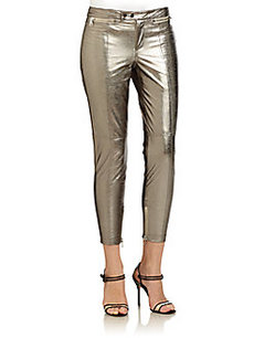 Robert Rodriguez Zip-Detail Metallic Leather Cropped Pants