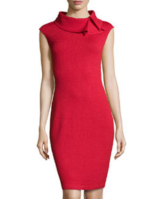 St. John Ruffle-Collar Knit Dress, Ruby