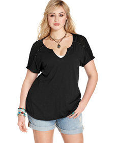 Lucky Brand Plus Size Short-Sleeve Mesh Top