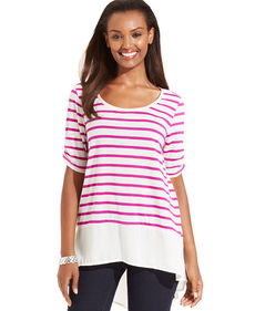 Style&co. Striped High-Low Top
