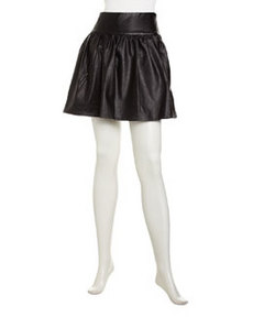 French Connection Faux-Leather Flared Skirt, Black