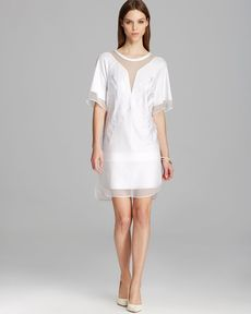 Robert Rodriguez Dress - Dandelion Short Sleeve Illusion Embroidered Shift