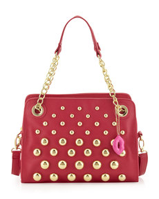 Betsey Johnson Great Balls of Fire Pebbled Satchel Bag, Fuchsia