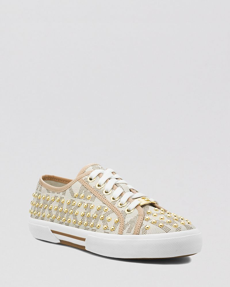 MICHAEL Michael Kors Lace Up Flat Sneakers - Boerum Mini Studded