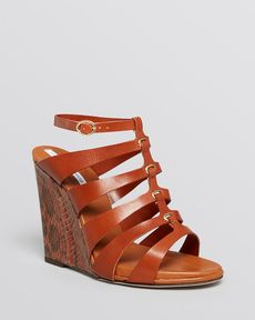 DIANE von FURSTENBERG Open Toe Platform Gladiator Wedge Sandals - Wave