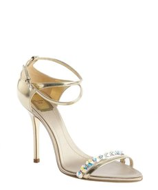 Christian Dior gold leather crystal detail strappy sandals
