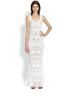 Emilio Pucci Sleeveless Crochet-Knit Maxi Dress