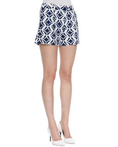 Napoli Printed Shorts, Batik Blue/White   Napoli Printed Shorts, Batik Blue/White
