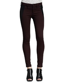 Mid-Rise Pop Leather-Panel Leggings, Wine/Black   Mid-Rise Pop Leather-Panel Leggings, Wine/Black