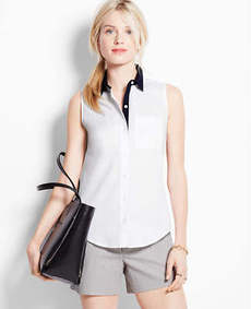 Contrast Perfect Stretch Cotton Sleeveless Shirt