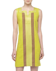 Lafayette 148 New York Maria Sleeveless Poplin/Leather Boxy Dress, Plantain
