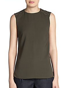 Brunello Cucinelli Embroidered-Shoulder Silk Tank